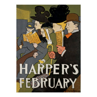 Harpers February Vintage Poster
