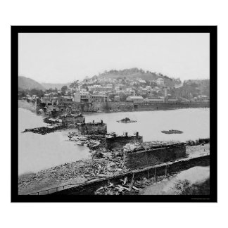 Harpers Ferry, WV Railroad Bridge Ruins 1862 Poster