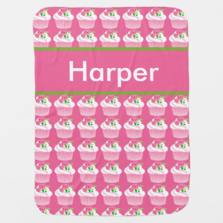 Harper's Personalized Cupcake Blanket Swaddle Blanket