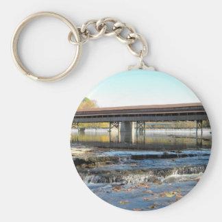 Harpersfield Covered Bridge Ashtabula County Ohio Basic Round Button Keychain