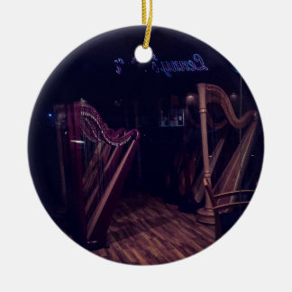 Harps in shadow ceramic ornament