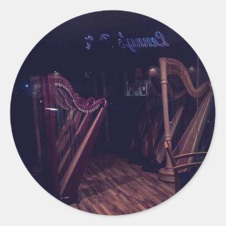 Harps in shadow classic round sticker