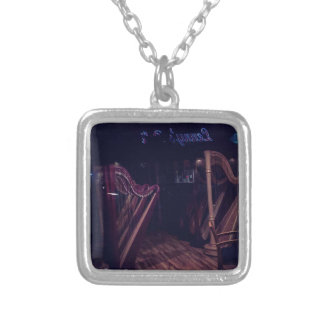 Harps in shadow silver plated necklace
