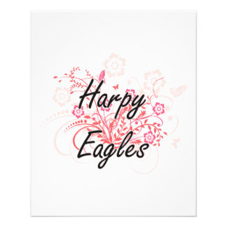 Harpy Eagles with flowers background Flyers