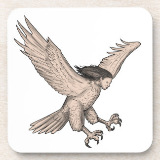 Harpy Swooping Tattoo Coaster