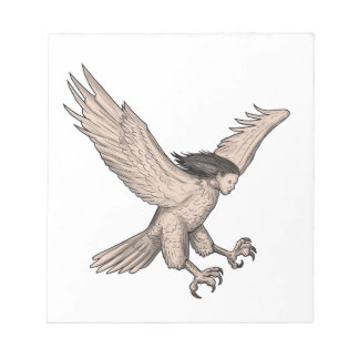 Harpy Swooping Tattoo Notepads