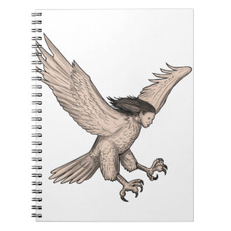 Harpy Swooping Tattoo Spiral Notebook