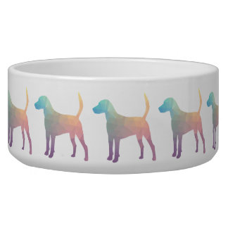 Harrier Beagle Hound Dog Geometric Silhouette Dog Food Bowl