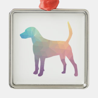 Harrier Beagle Hound Dog Geometric Silhouette Metal Ornament