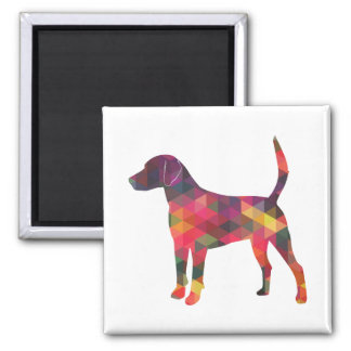 Harrier Dog Colorful Geometric Pattern Silhouette Magnet