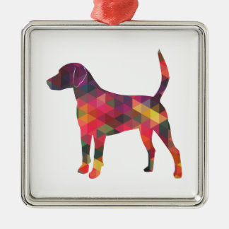 Harrier Dog Colorful Geometric Pattern Silhouette Metal Ornament