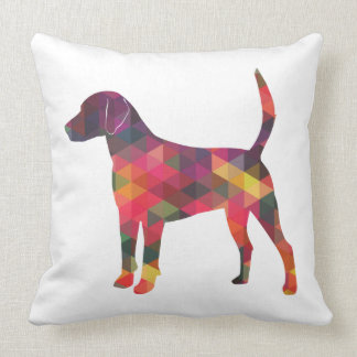 Harrier Dog Colorful Geometric Pattern Silhouette Throw Pillow