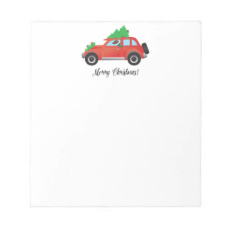 Harrier Dog Driving a Car - Christmas Tree on Top Notepad