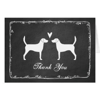 Harrier Dog Silhouettes Wedding Thank You Card