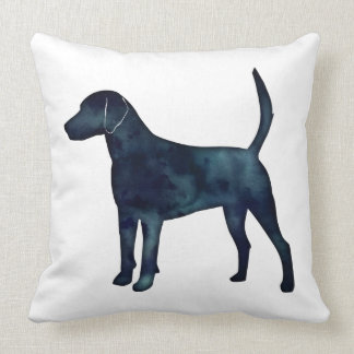 Harrier Hound Beagle Black Watercolor Silhouette Throw Pillow