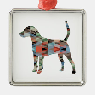 Harrier Hound Dog Geometric Pattern Silhouette Metal Ornament