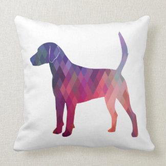 Harrier Hound Dog Geometric Pattern Silhouette Throw Pillow