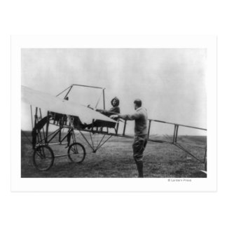 Harriet Quimby in Her Airplane Photograph Postcard