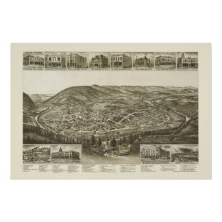 Harriman, TN Panoramic Map - 1892 Poster