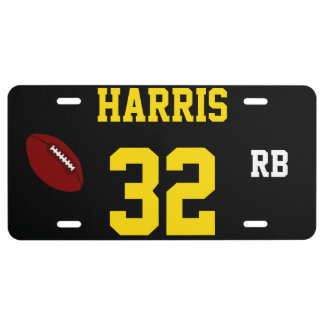 Harris 32 Black and Gold Football Template License Plate