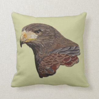 Harris Hawk Faux Embroidery Throw Pillow
