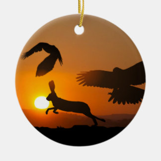 Harris Hawks Hunting Ornament