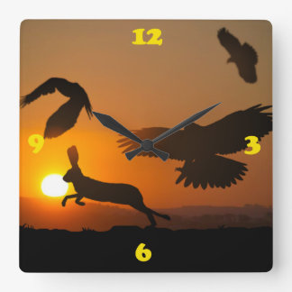 Harris Hawks Hunting Square Wall Clock