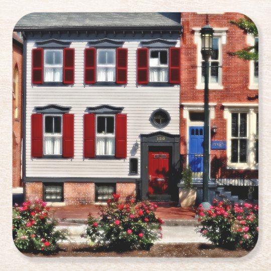 Harrisburg PA - Roses on State Street Square Paper Coaster