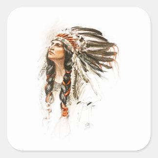 Harrison Fisher Song Hiawatha Indian head dress 1 Square Sticker