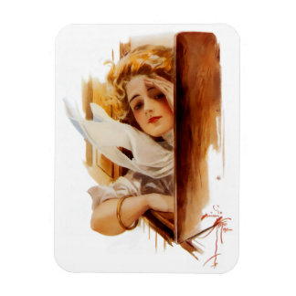 Harrison Fisher: Woman in Train Rectangular Photo Magnet