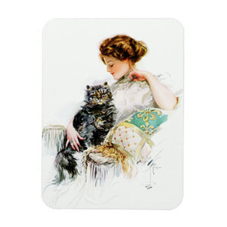 Harrison Fisher: Woman with Cat Rectangular Photo Magnet