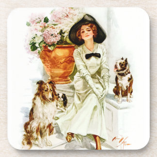Harrison Fisher: Woman with three Dogs Coaster