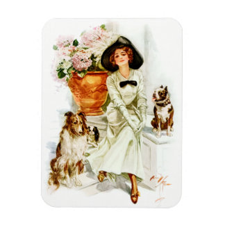 Harrison Fisher: Woman with three Dogs Rectangular Photo Magnet