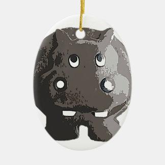 Harry Hippo Ceramic Oval Ornament