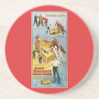 Harry Houdini Buried Alive Vintage Magician Poster Coaster