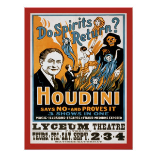 Harry Houdini Do Spirits Return Vintage Print