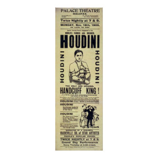 Harry Houdini Handcuff King Vintage Poster