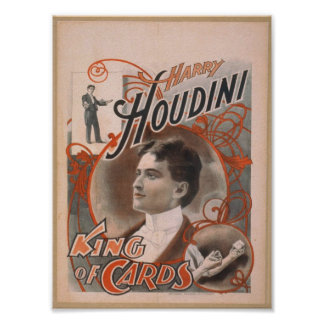 Harry Houdini, 'King of Cards' Vintage Theater Poster
