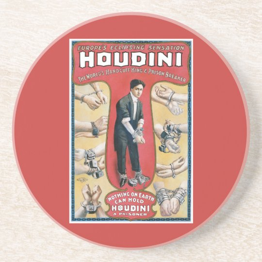Harry Houdini Vintage Magician Poster Coaster