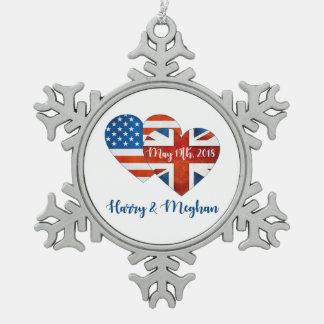 Harry & Meghan Wedding, May 19th 2018 Snowflake Pewter Christmas Ornament