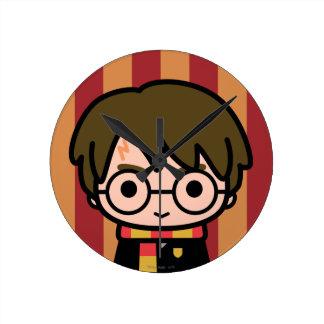 Harry Potter Cartoon Character Art Round Clock