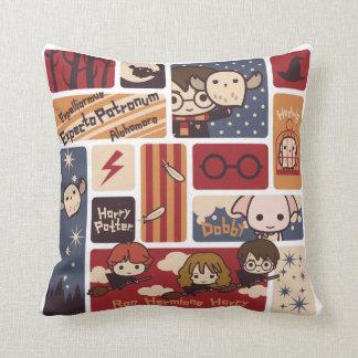 Harry Potter Cartoon Scenes Pattern Throw Pillow