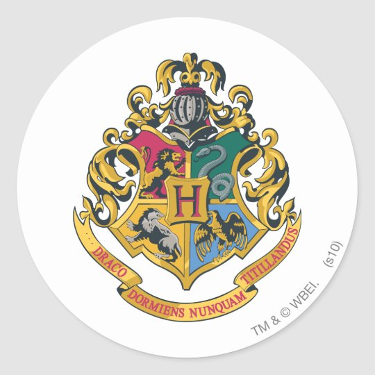 Harry Potter   Hogwarts Crest - Full Colour Classic Round Sticker