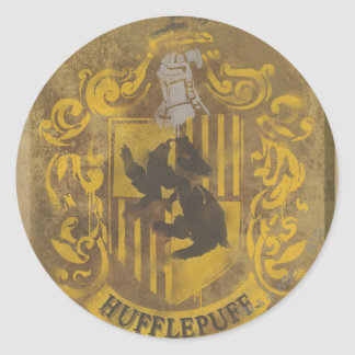 Harry Potter | Hufflepuff Crest Spray Paint Round Sticker