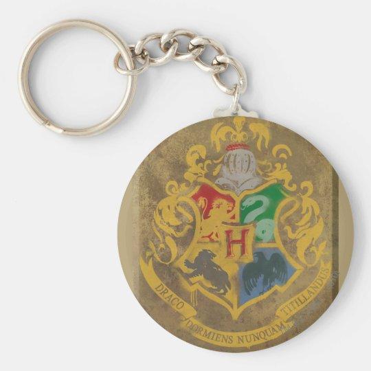 Harry Potter   Rustic Hogwarts Crest Basic Round Button Keychain