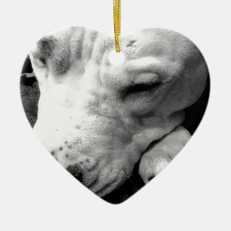 harry potter scar dog white pit bull ceramic heart ornament