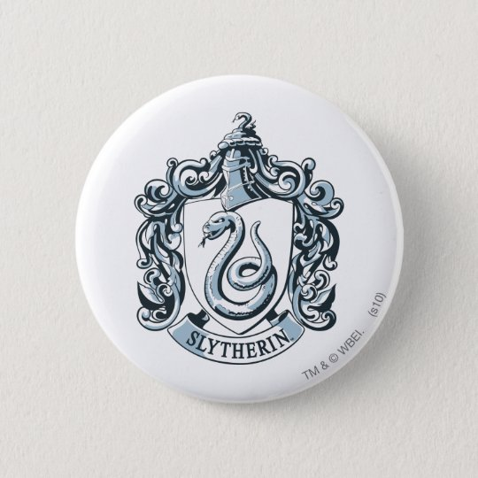 Harry Potter   Slytherin Crest - Ice Blue 2 Inch Round Button