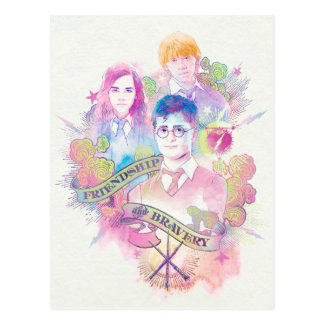 Harry Potter Spell | Harry, Hermione, & Ron Waterc Postcard