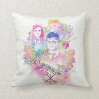 Harry Potter Spell | Harry, Hermione, & Ron Waterc Throw Pillow
