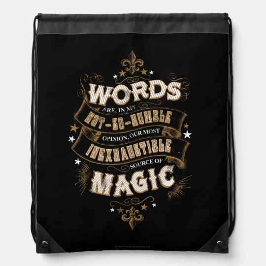 Harry Potter Spell | Words Are Our Most Inexhausti Drawstring Backpacks